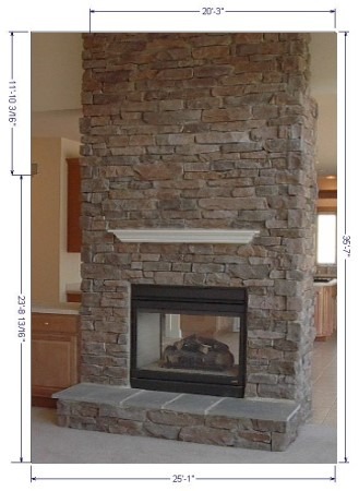 STONE FIREPLACE PICTURES - NATURAL STONE, MANUFACTURED